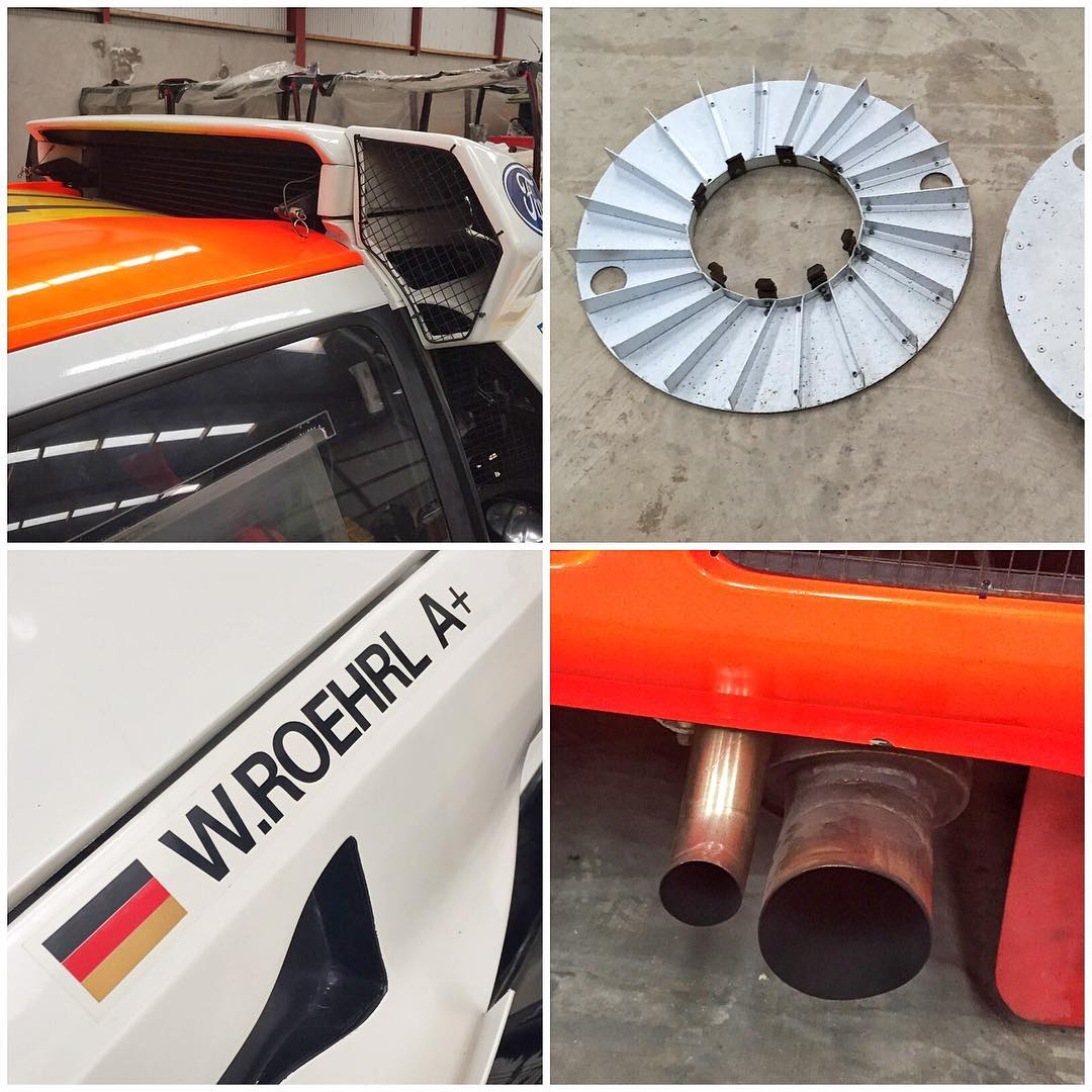 A few random Group B car details I shot yesterday in Enda's garage: massive RS200 air intakes, turbofans, Walter Roehrl's name and blood type on a Race of Champions S1 Quattro, and the massive exhaust/wastegate dump setup on an RS200 Evo....