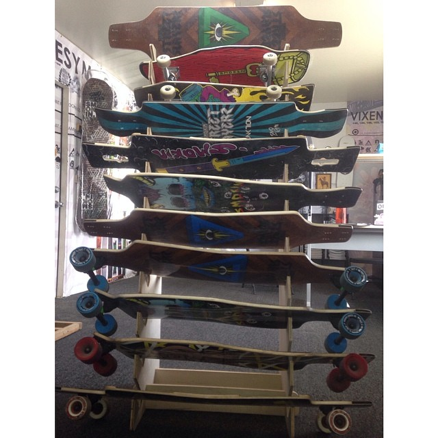 @smokinstreetslayers and @squarewheelco are going on the second year , the line has developed well and we now have 9 different boards and 3 types of wheels.heres a shot of the new line and our custom board rack. #forridersbyriders #handmadelaketahoe