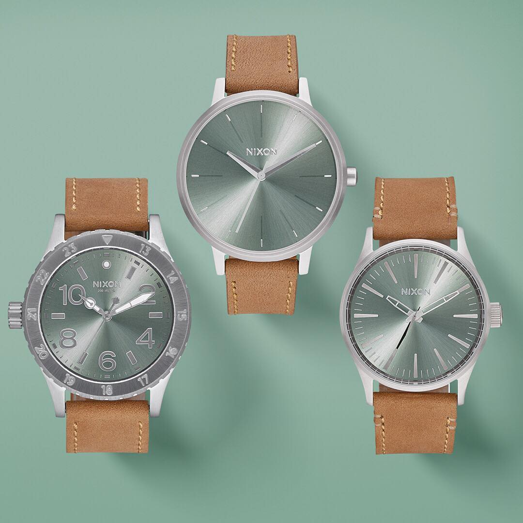 Sage green sunray dials resemble iridescent abalone shells and rich leather straps embody the soul of weathered saddlebags. All this and more in the #DesertSage collection. #Nixon