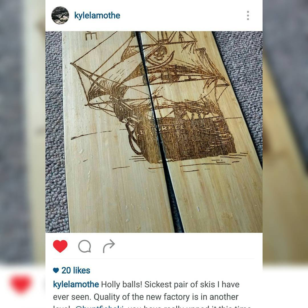 We told him we would make him the sickest skis in Revelstoke... Maybe we overshot! Anyways youre welcome @kylelamothe go give er eh?! #madeinthecoloradorockies #farfromchina #skis #skiing #ski #mountains #sketchbook #lineart #skiasgoodastheylook