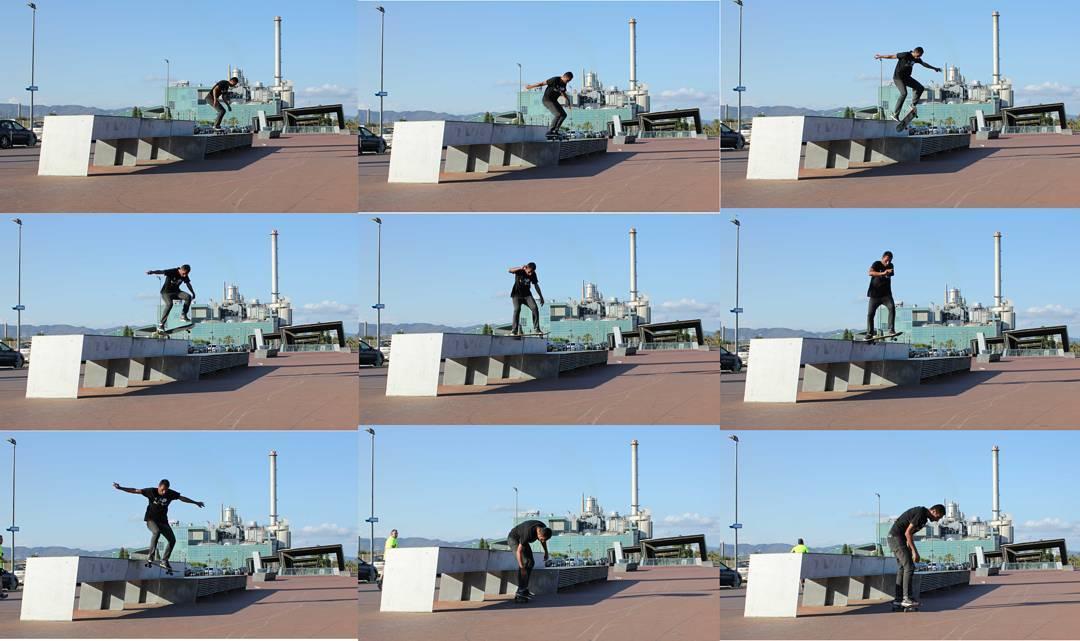 Un nollie flip noseslide de Daniel Marquez por Barcelona . Foto publicada en la última edición de la revista Gossip