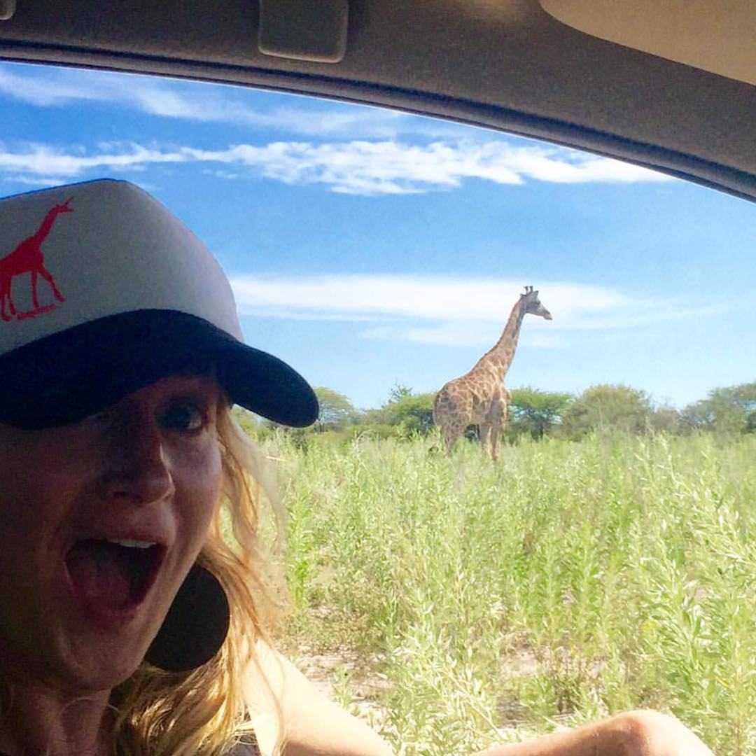#Regram from @ajoylife00. A girafficorn meets a giraffe in #Namibia. #adventure #Africa #wildlife #getoutthere #optoutside #iamsj #shejumps