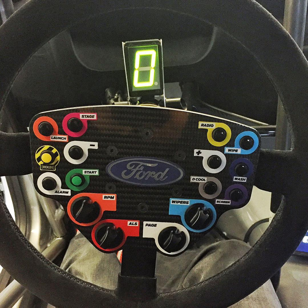 One of my favorite things on my new Ford Focus RS RX racecar: this amazing steering wheel. So good. Much like. Which is nice, since I'm going to be looking at this at this thing a lot this year. Anyone catch the little Easter egg that @MSportLTD put in...