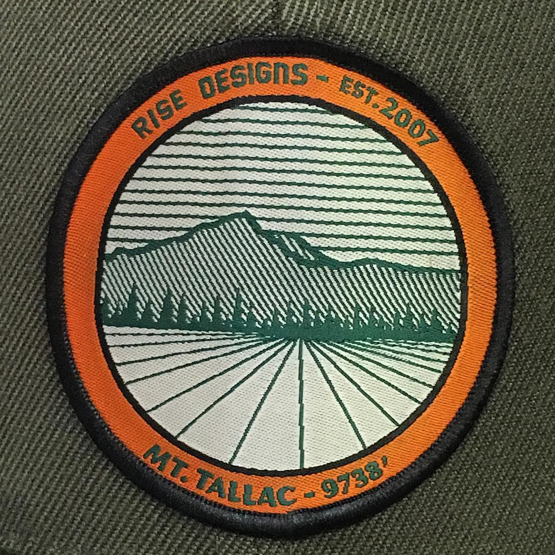 A closeup of our Mt. Tallac patch. Spent a good amours of time fine tuning and designing this one. #risedesigns #risedesignstahoe #mttallac #tahoesouth #tahoe #graphicdesign