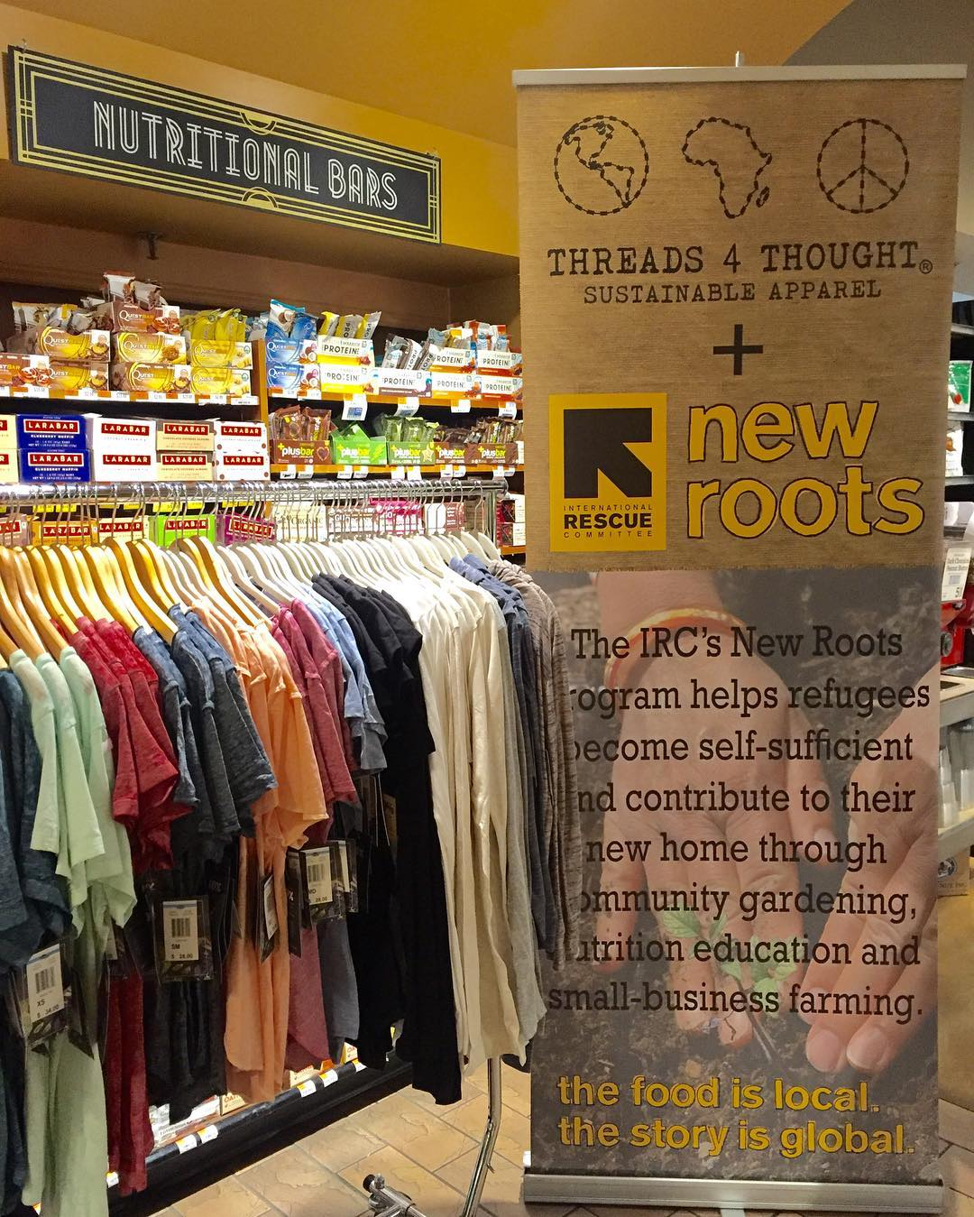 Posted up at @wholefoodsnyc today for 5% Day! 5% from all sales at Whole Foods Manhattan stores will be donated to our partner @theirc New Roots program! Come shop today at Whole Foods NYC stores!  #foodforthought #forceforchange #livesustainably #NYC