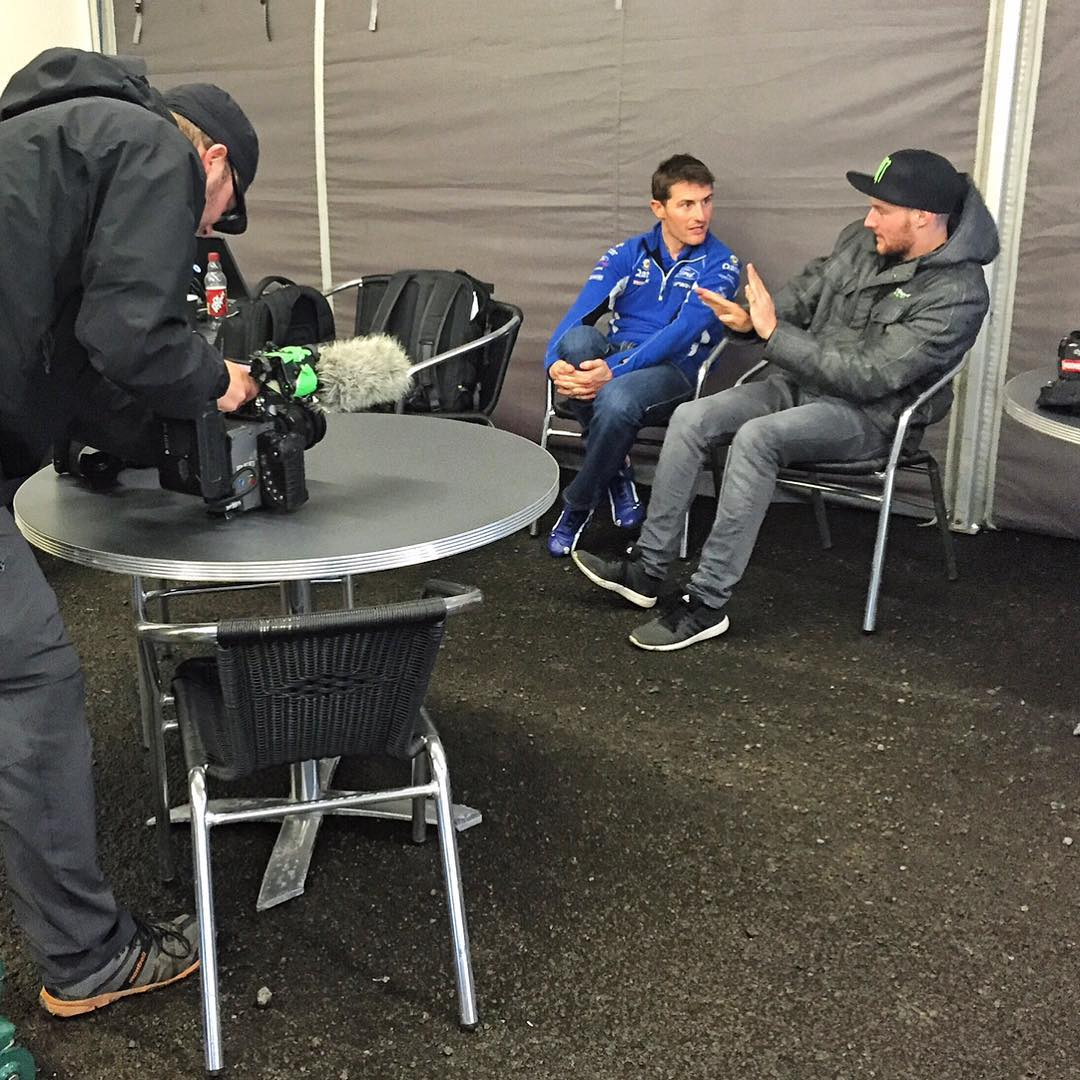 Behind-the-scenes snap of @AndreasBakkerud talking to @MSportLTD test driver (and former WRC driver) Matthew Wilson about the new Ford Focus RS RX. Like typical racecar drivers, they are talking with their mouths and hands! Ha. #FocusRSRX #FordRallyX