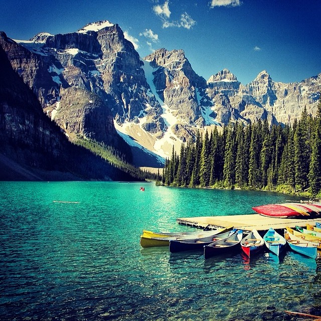 Who wouldn't want to be in the #mountains on a #Wednesday thanks to @misshalimarie for #wwrbw where we'd rather be #wednesdays in #banff #canada #nationalpark #kayaking in the most gorgeous #mountain #water #explore #canada #mountainobsessed where...