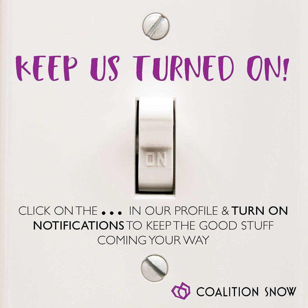 We've seen it coming up, so we figured we'd remind you to keep us turned on to stay up to date with all things #coalitionsnow.  #sisterhoodofshred #algorithm #instagram