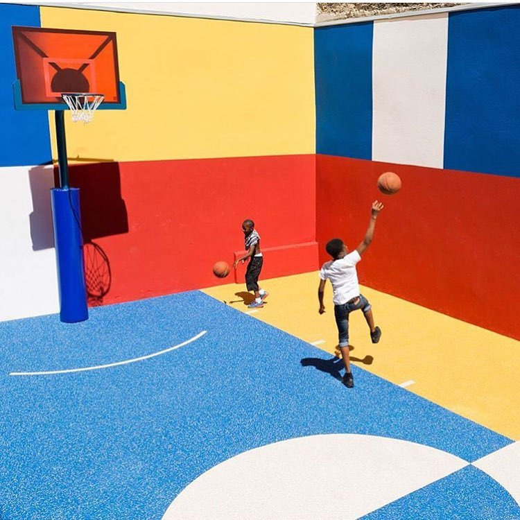 court envy.  regram from our friends over @outdoorvoices - pigalle x iii-studio basketball court. #stretchyourimagination