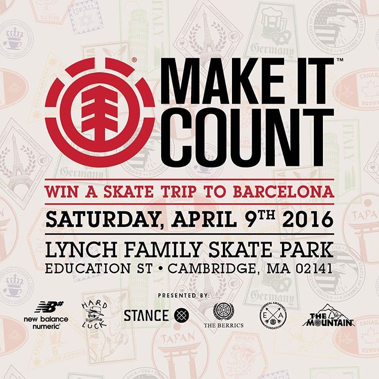 Join us this Saturday, April 9th, at the Lynch Family Skate Park in Boston, MA for the next #ElementMakeitCount Contest of the season! Enter for a shot at an all expenses paid trip skate trip to Barcelona! More info at ElementMakeItCount.com