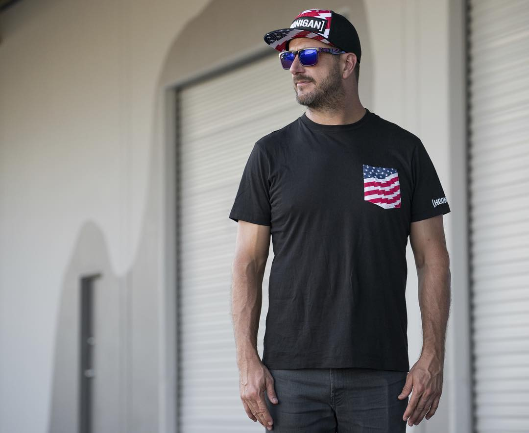 HHIC @kblock43 in our traditional, red white and blue, Stars & Stripes pocket tee. We whipped up a new batch, find them on #hooniganDOTcom.