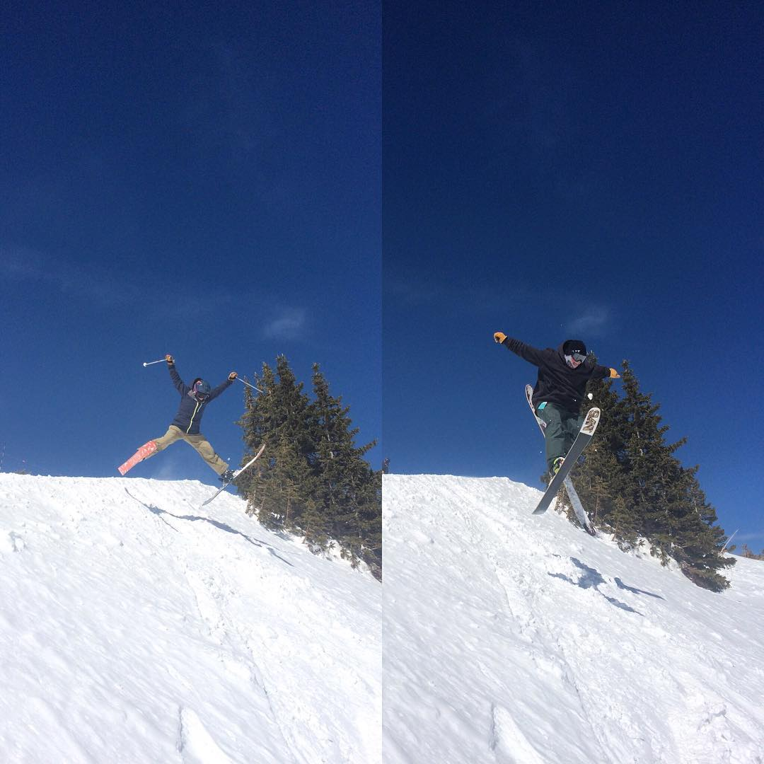 Tahoe's indie ski brand showdown during #indietest2016 ---#whoworeitbetter? @rblums of @coalitionsnow with the spread eagle vs. @iamjackyoung of @slantskis with the daffy. vote in the comments! //