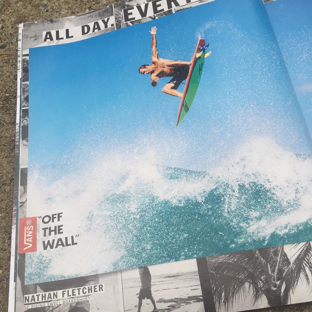 Nathan Fletcher in the latest Surfer mag Vans ad. flying with 3DFINS 6.0 Monkey boys at the front and Occypuss quad rears. Sick combo #3dfins #dimpletechnology #innovation #fins