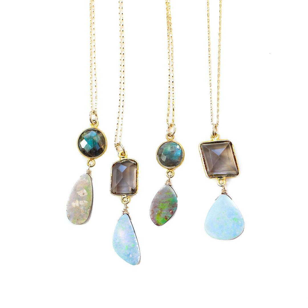 Spring one-of-a-kinds! Available in the shop now! Click one of a kinds in the tab bar and find some gems!  Opal & Labradorite Necklace Smokey Quartz & Opal Necklace  #gold #opals #smokeyquartz #crystals #crystalgypsy #labradorite #bliss #jewelry...