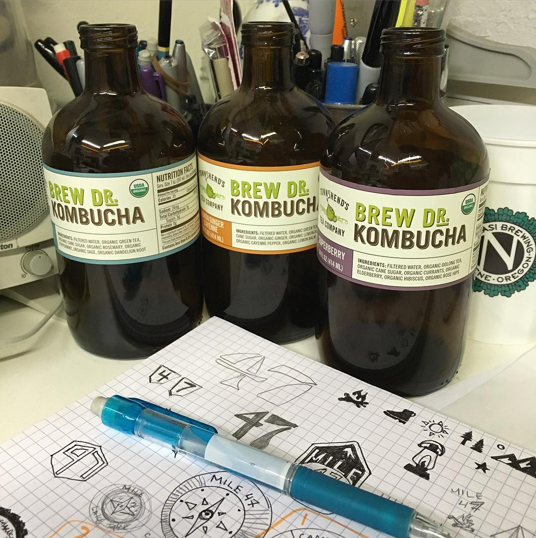 Staying inspired at the desk with @brewdrkombucha . Sketch time this week has been fun with a variety of design projects.  #risedesigns #riseshop #graphicdesign #kombucha #townshendsteacompany #brewdoctorkombucha