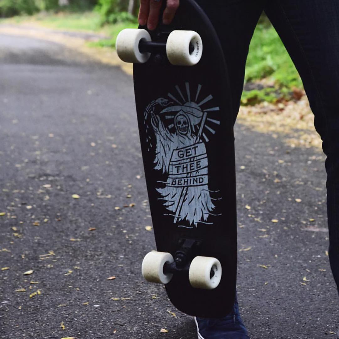 Get Thee Behind. A shot of our collab oak cruiser we did with @efficacyclothing Check them out in store and online.