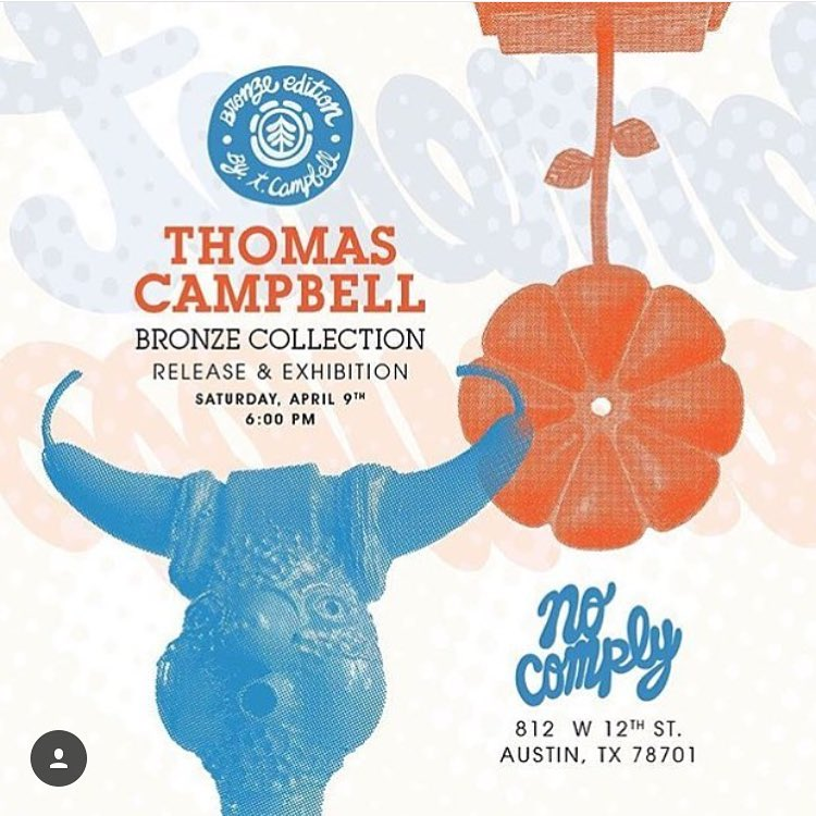 if you're in the Austin area, head over to @nocomplyatx tomorrow evening where @thomascampbellart will be showcasing his bronze sculptures along with a board collection and live silk screening of tees >>> #thomascampbell #austin