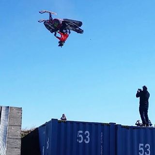 My buddy @PaulThacker11 just sent me these images of him backflipping his snowmobile into a foam pit. Which is amazing - because he's the first person in a wheelchair to do so! Paul was injured in a big crash a few years ago and lost the use of his...