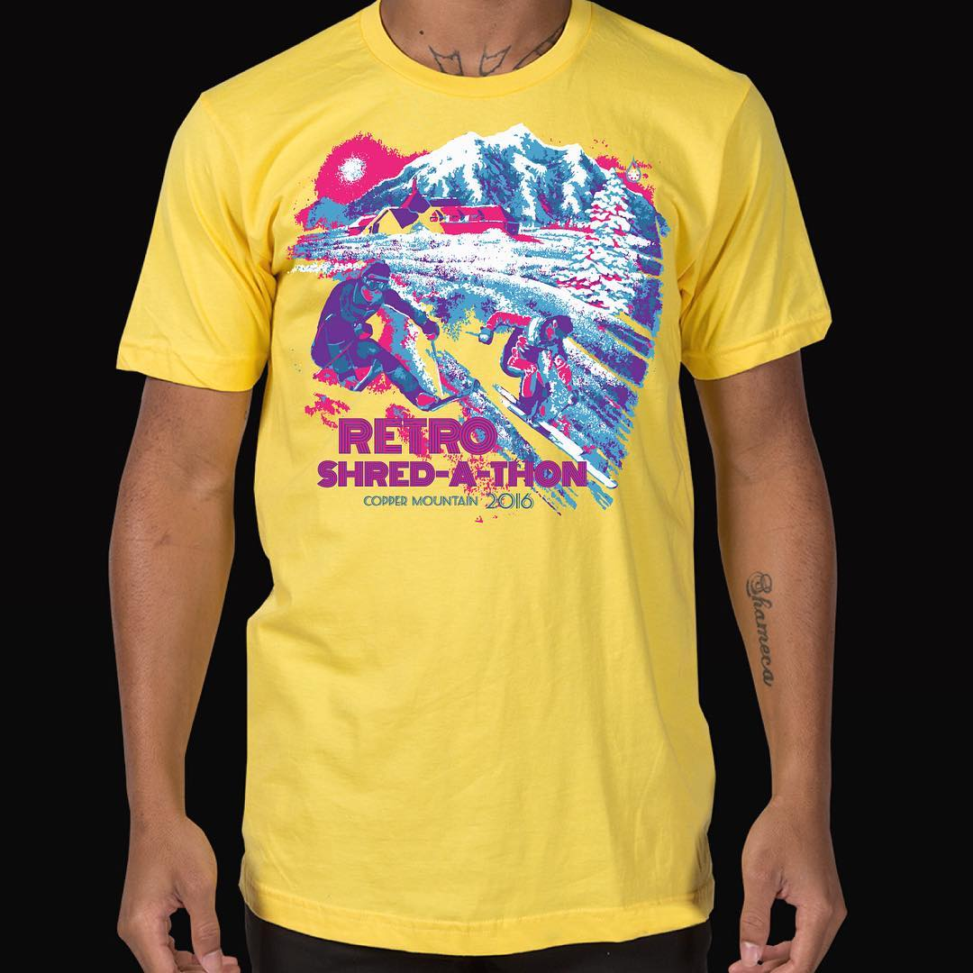 Kind Design is making these bad ass shirts for the 1st annual Retro Shred-a-thon, taking place April 17th at Copper Mountain.  We will be skiing all day, opening chair to closing chair, to raise money for the @hi5sfoundation - They support the dreams...
