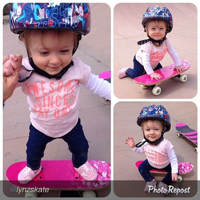 "This cutie has some pretty solid genes to become an amazing athlete. Addy Pastrana getting on it early. by @lynzskate ""#AddyPastrana is getting aquatinted with her skateboard :) #AwesomeSinceDayOne #skatedate #lovemylife"""