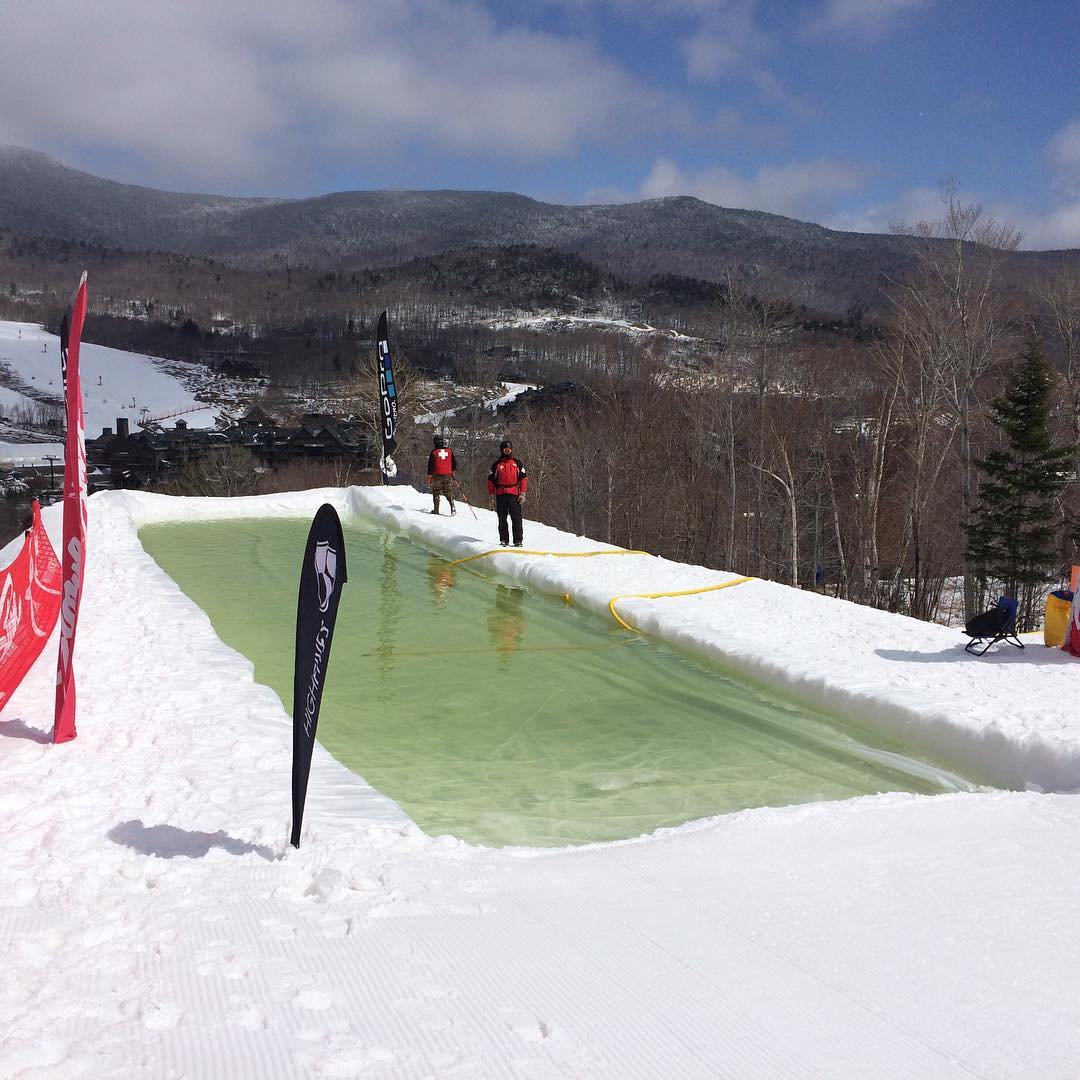 Have you ever watched a confused gorilla on snow blades glide over—or crash into—an icy pool to the delight of a jubilant crowd? Well it's time you took the plunge at the New England Pond Skim Championships @stowemt today! Join us