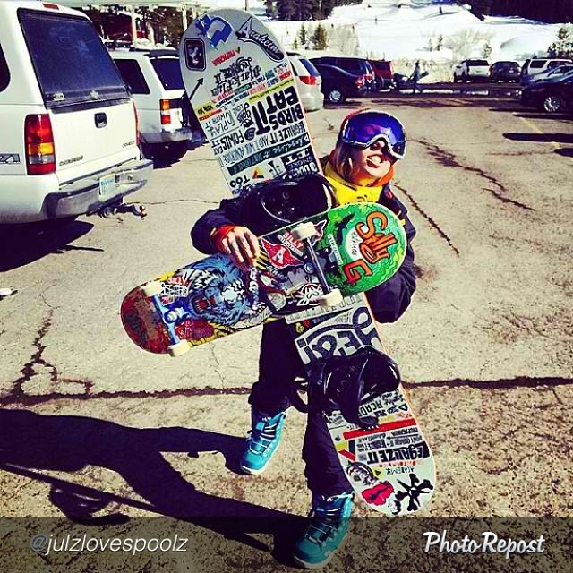 "A surfboard away from the trifecta for Julz Lynn. Standing sideways just feels right. #calirules #skateboarding #skate #skatelife #snowboarding #snowboard #snowlife #boardlife by @julzlovespoolz ""The best thing about Cali... #snow and #skate in the..."
