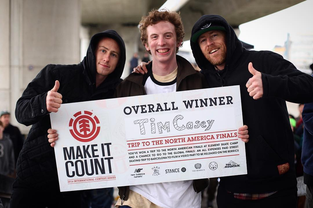 Congratulations to Tim Casey (@cimtasty) on winning today's #ElementMakeItCount contest in Boston! He snagged himself a spot in the National Finals for a chance to win an all expenses paid skate trip to Barcelona, Spain. More info at...