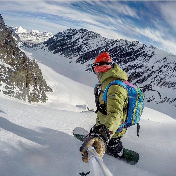 Adventurer @philipshearer chasing the dragon's tail in the Chugach yesterday.  #avalon7 #followthestoke #snowboarding www.avalon7.co