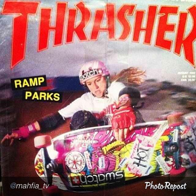 """by @mahfia_tv """"#tbt @cbburnside @thrashermag cover #killinitsoftly #carabethburnside #skateboarding #skateboardinggirl #girlswhoskate #girlswhoshred"""""""