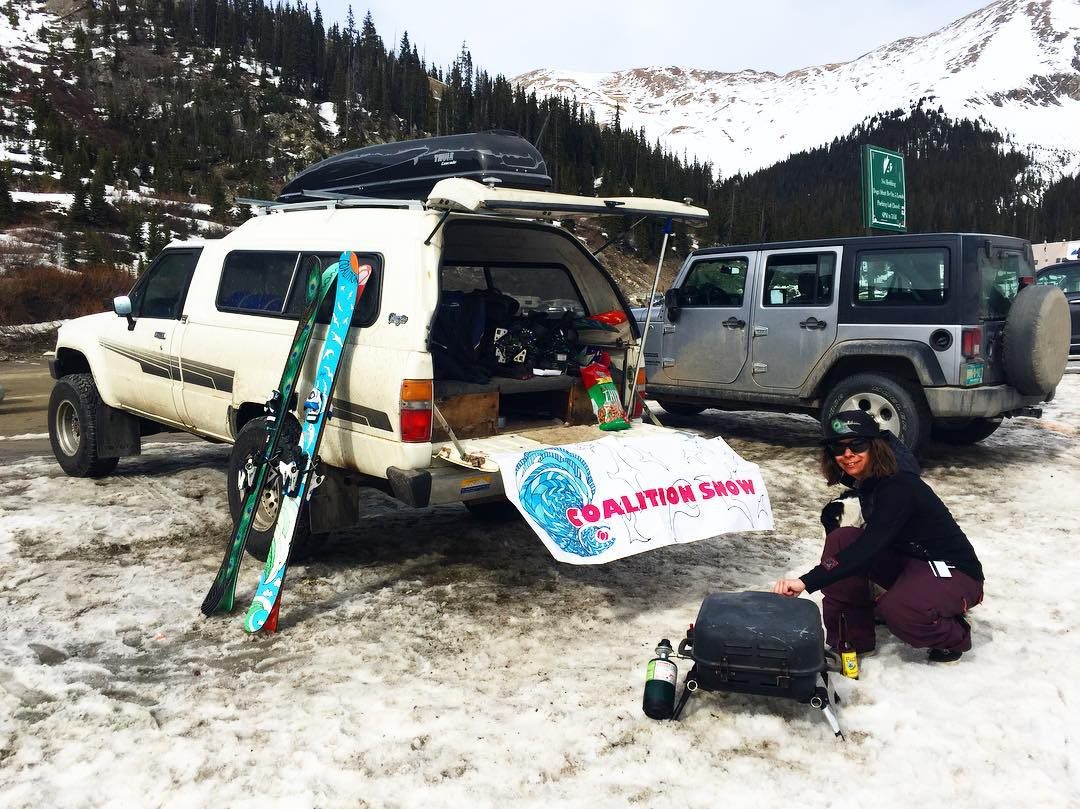 @nosnowsnakes demonstrates great aprés form at the beach after skiing A-Basin.  #Colorado was good to the #coalitionsnow team; #saltlakecity here we come; @altaskiarea tomorrow, come take some runs if you're around!  #sisterhoodofshred #skiing...