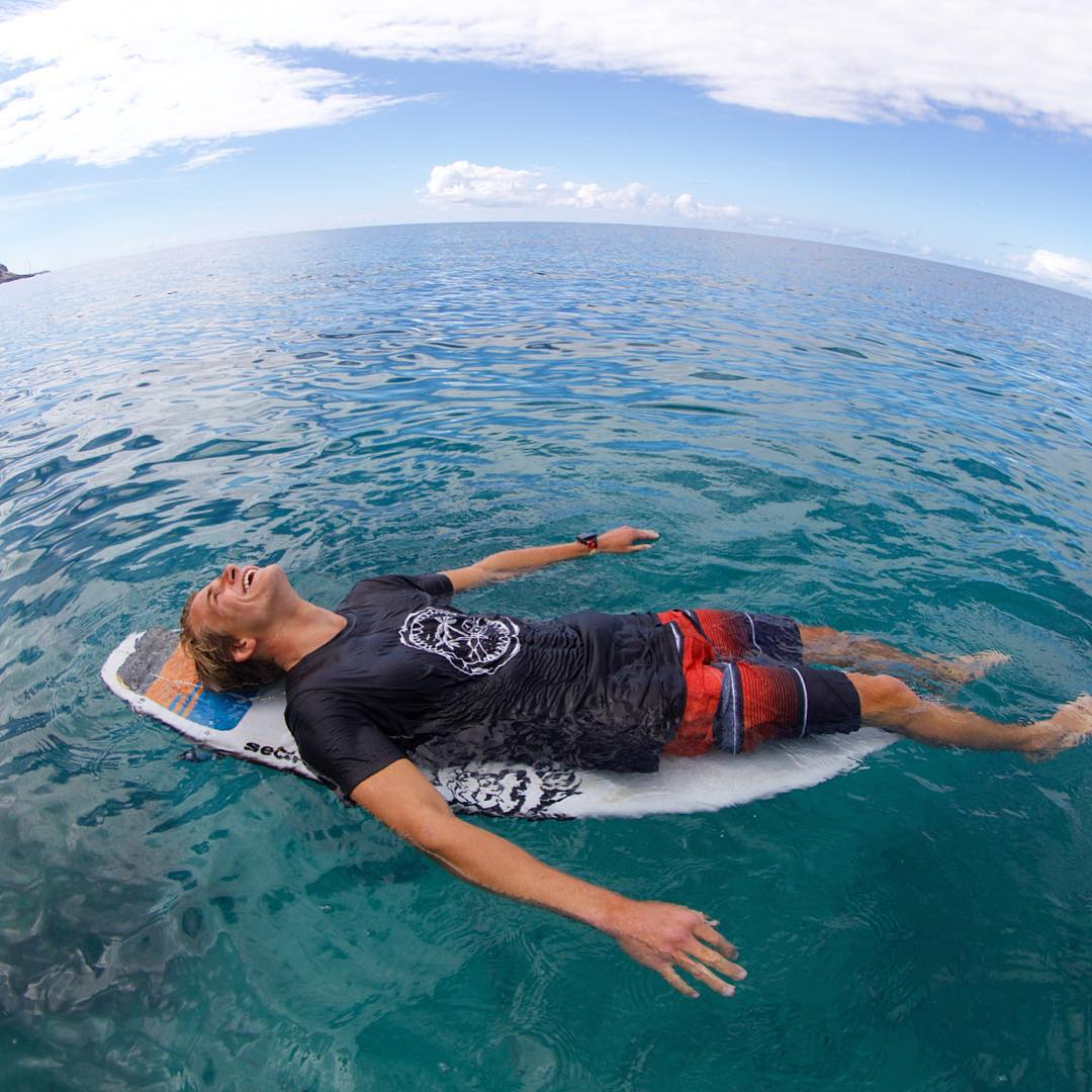 "@quentin_turko ...lost at sea in the ""Jawbone"" tee & ""Slabs"" boardshort. Now available in stores and online."