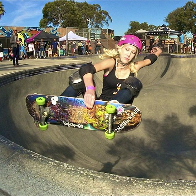 Happy birthday to #NorCal slayer Beverly Flood (@bevmoskater)!!! FSA in the @clairemontskatepark bowl at #EXPOSURE2013. PC: Dan Sparagna (@sparagram). @brokinbonzclothing @floodkontrol #skate #skatelife #skateboarding