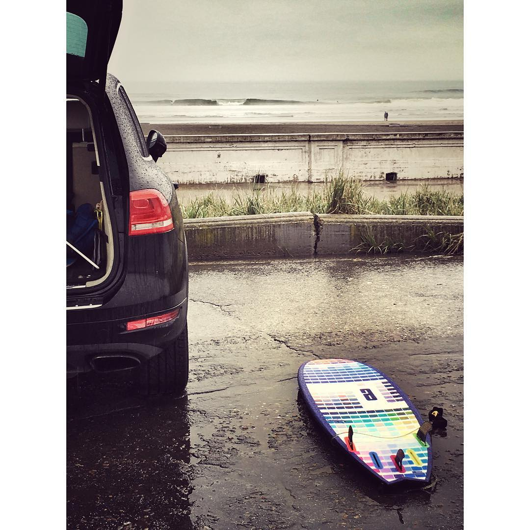 tropical conditions at OB #awesome - actually some fun ones out there! #rainsurf#awesomesurfboards #OB