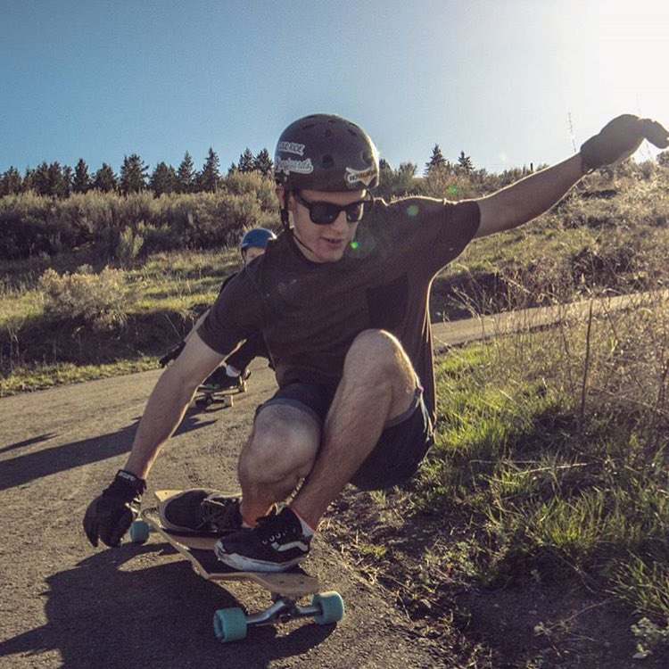 @aidan_gilbert out for a skate on the new Contra at the Kamloops Longboard Park!