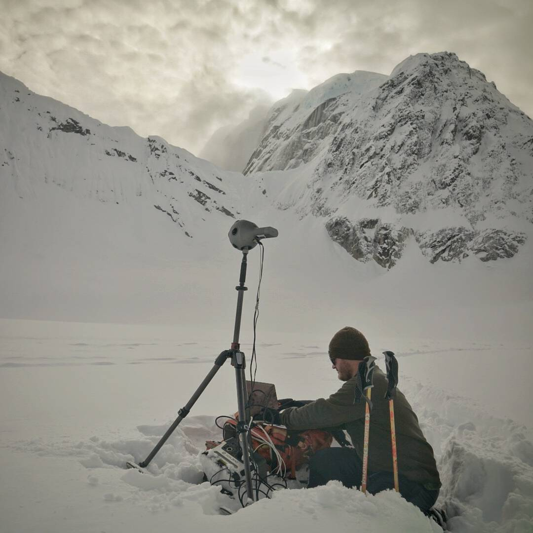 A photo by @renan_ozturk of @rudy.le putting the @radiantimages #OZO 360° 3D Virtual Reality rig to the test along with the Yeti 400. The -20℉ Alaskan weather makes for some interesting challenges.  #GetOutStayOut