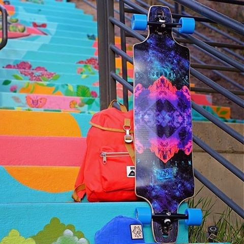 "Repost from the @thelongboardstore featuring our new Paradigm 41"" chilling with some @atlastruckco and @cloudridewheels! #dblongboards #longboard #goskate"