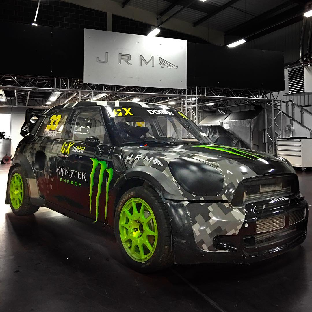 Here's another shot of my 2016 JRM Mini RX in @MonsterEnergy colours!! Who likes the green wheels?  #monster #monsterenergy #britishbomb #33 #rx #mini #jrm #camo #digicamo @fiaworldrx
