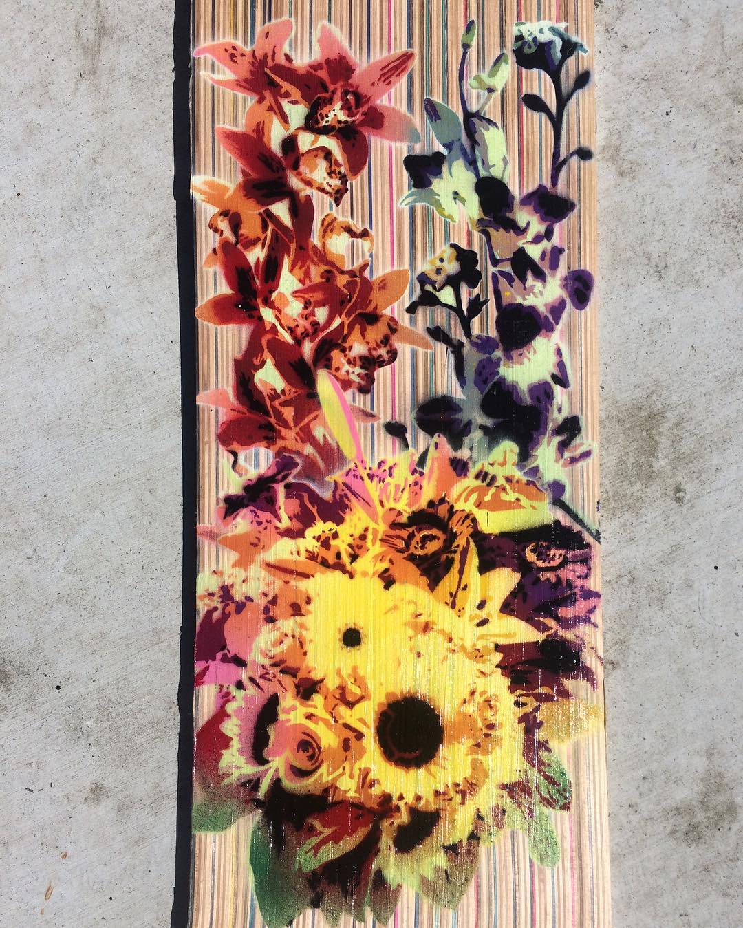 Our friend @porkchopbrand stenciled this beautiful piece on one of our recycled skateboards using only spray paint. Check out his page for more amazing work. #recycledskateboards #irisskateboards #porkchopbrand