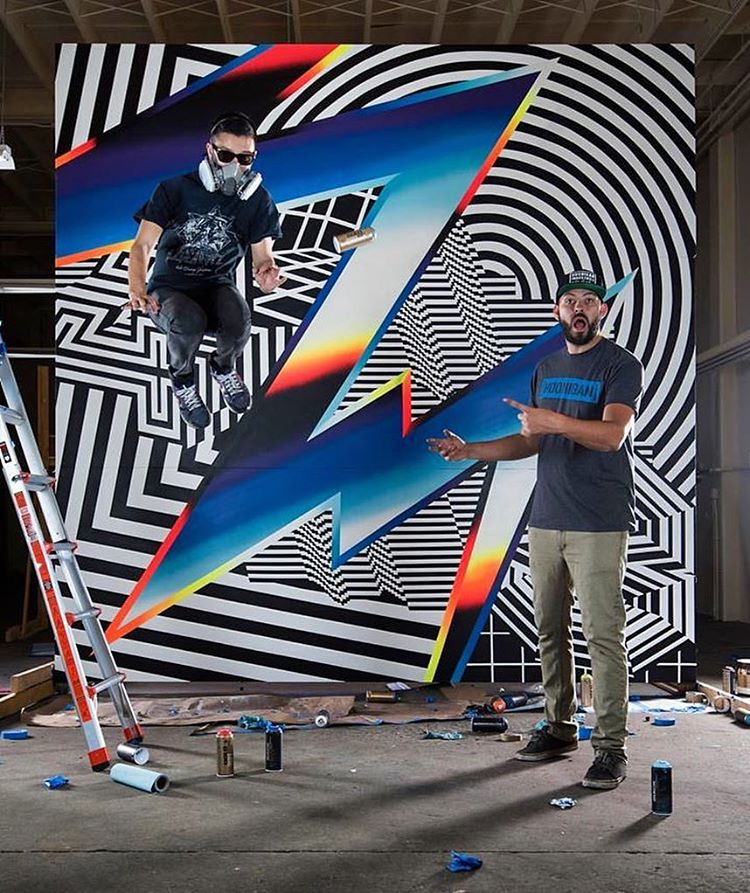 Mr. @FelipePantone (that airborne guy on the left) created 8 incredible pieces of art at @TheHoonigans' Donut Garage in Long Beach, CA last year, working directly with Hoonigan's Chief Brand Officer @BrianScotto (on the right). Elements from those 8...