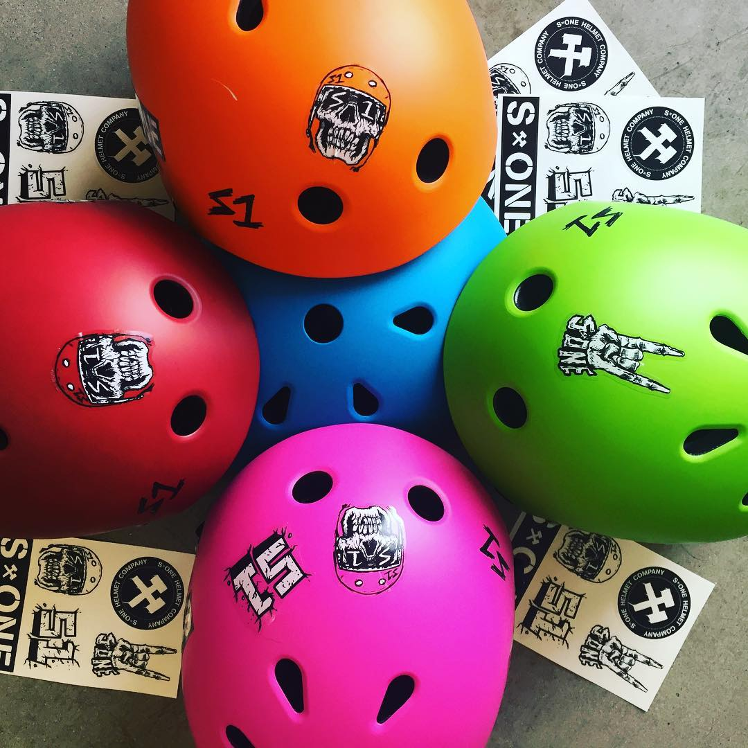 S1 Lifer Helmets and stickers - plenty of colors in stock and new sticker sheets with some art from @bobbydrawsskullz #s1helmets #skatehelmet #helmetart #skulls stickersheets printed at @inkgenda The S1 Lifer Hemet will protect your head 5x more than a...