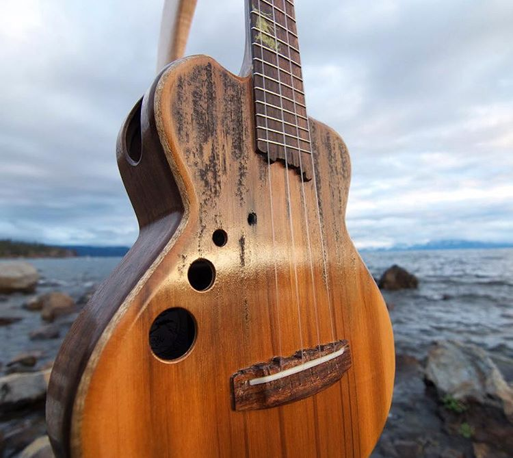Our comrades at @tydemusic constructed this uke from salvaged pier wood right off the shores of Lake Tahoe. #tahoemade through and through.