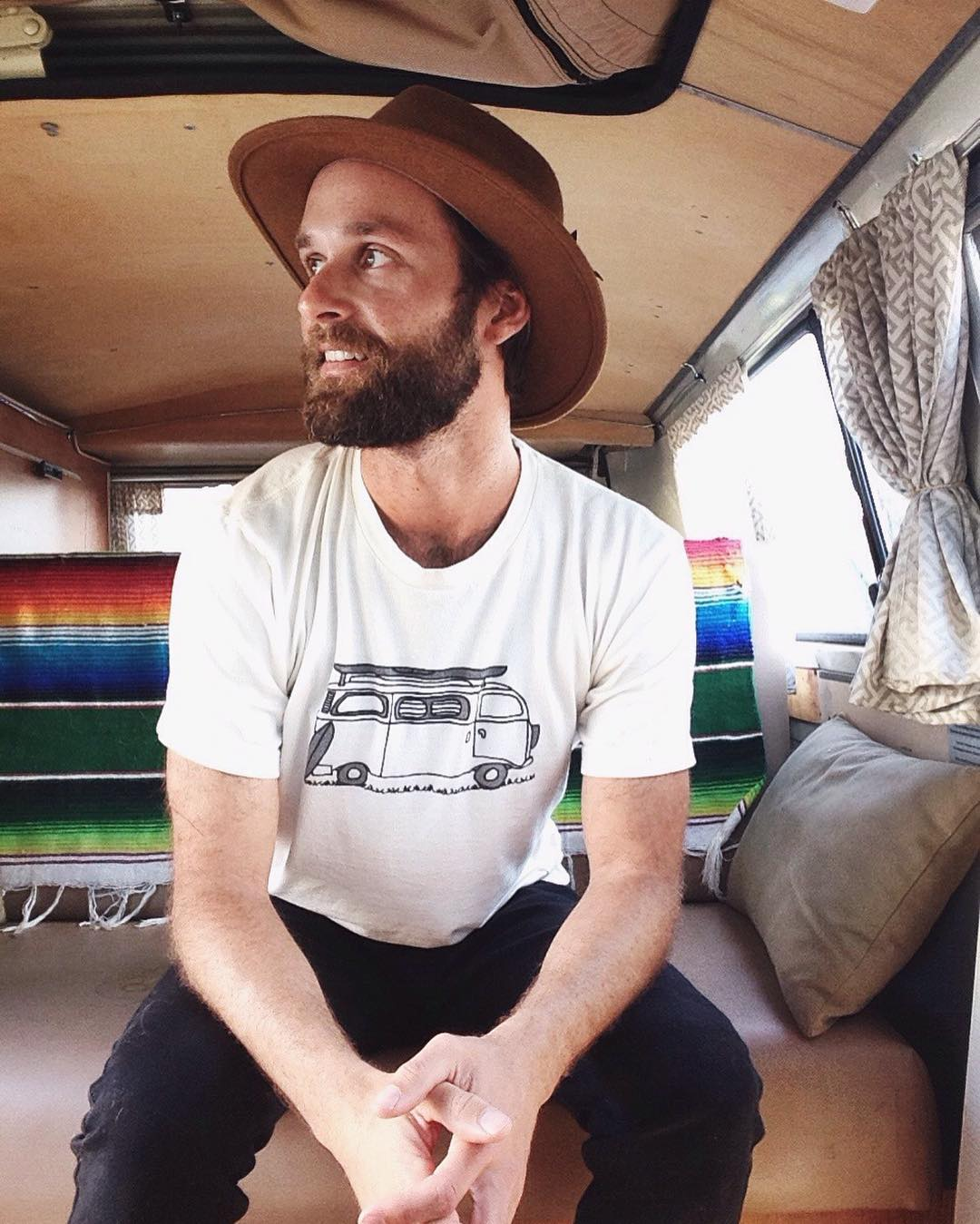 ~ Create Adventures ~  We're fully stoked on Mens and Women's Adventure tees! Follow the link in our bio to grab one for all your conscious adventures.  Made in the USA from hemp and organic cotton. Featuring a hand drawn sketch of our '69 Westy named...