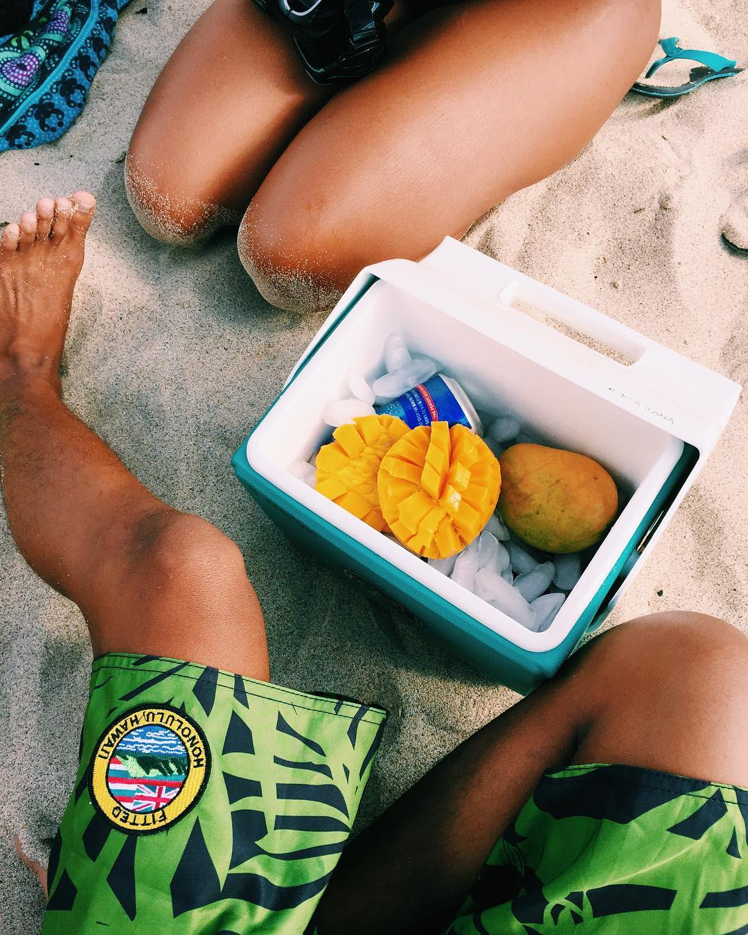 A cooler with the essentials + the noRep x @fitted Alaka'i boardshorts #inspiredboardshorts