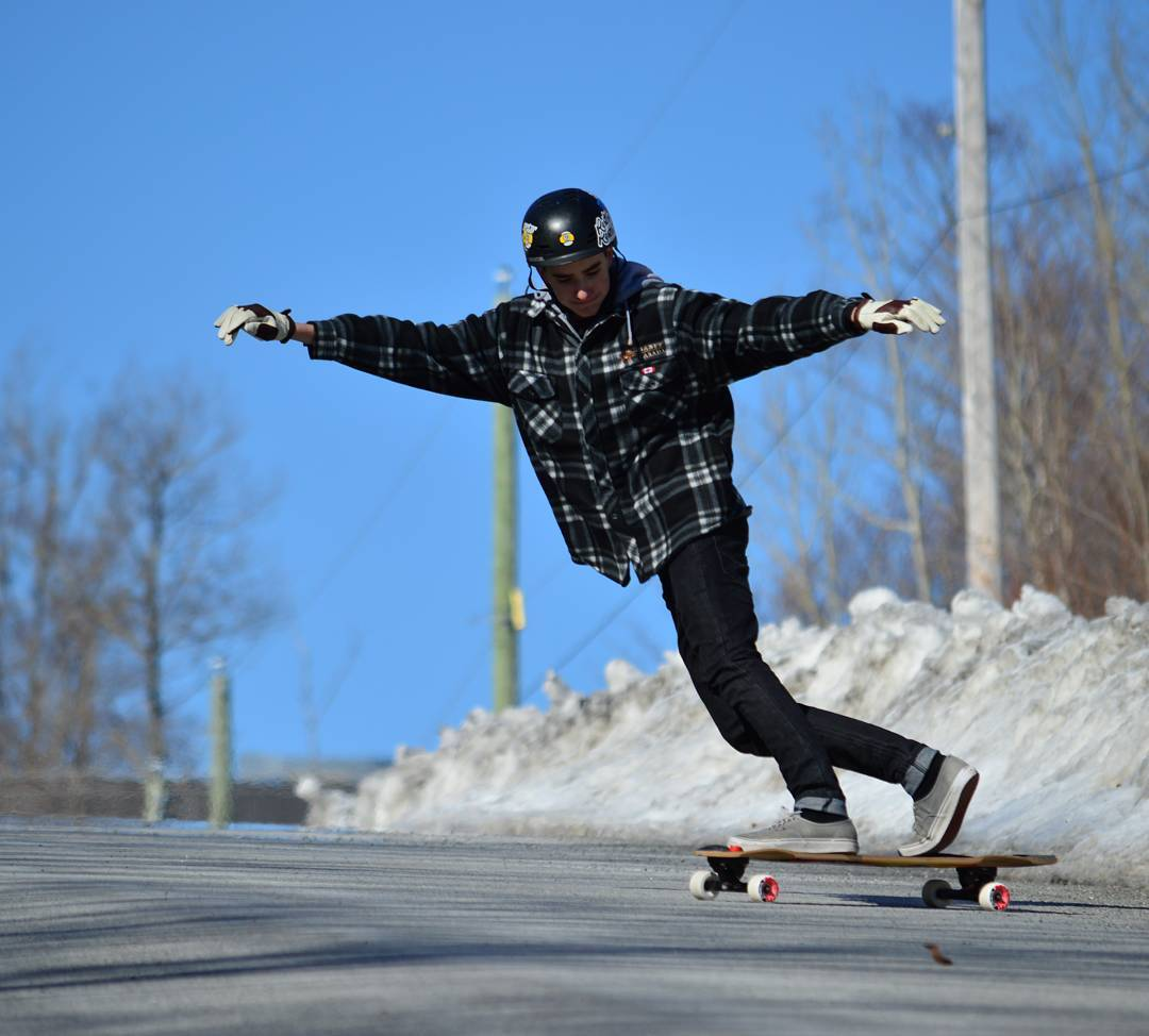 @kapune1 rides the cold pavement for the last time in Québec!  Summers is coming in hot soon