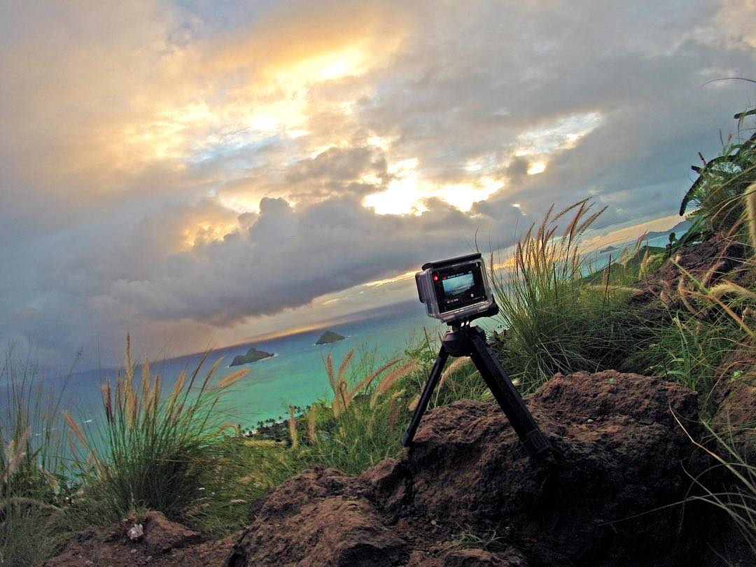 @taylorya setting up a sunrise time-lapse in Hawaii. Shot with GoPro HERO4 Silver and GoPole Base. #gopro #gopole #gopolebase #lanikaipillbox #hawaiii