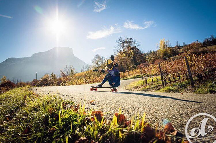 Our gurl & @lgcfrance Ambassador @lydebegue shot by @albanpernet. Go to longboardgirlscrew.com to check her latest run down a French classic. She's a bullet