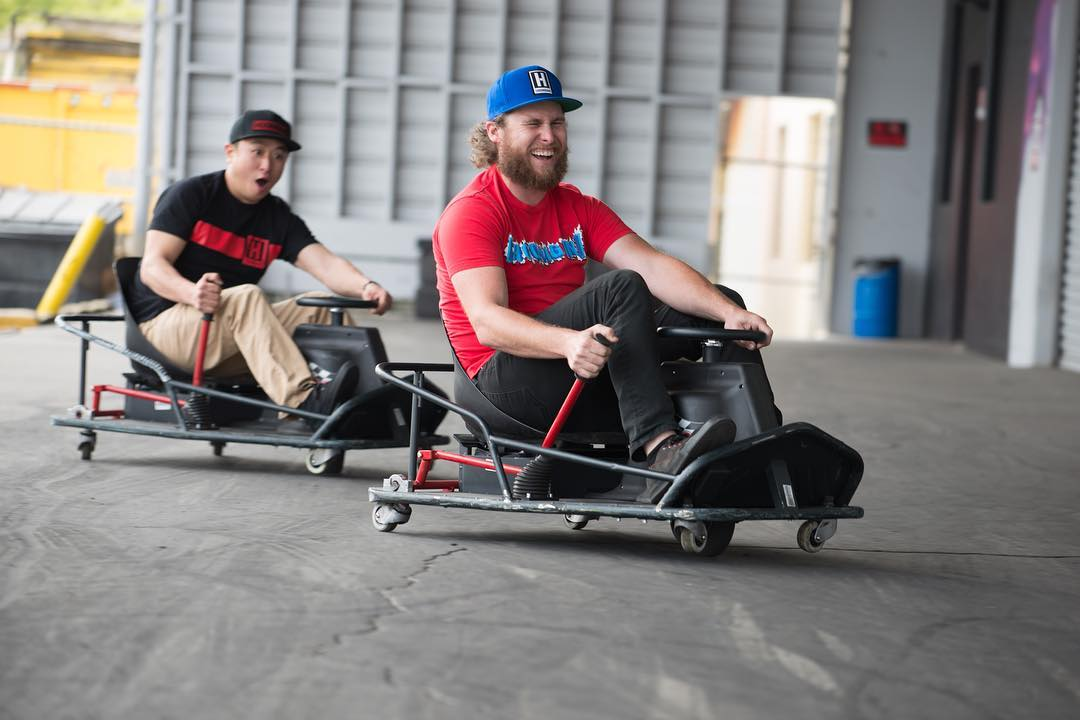 NEW GEAR AVAILABLE ON #hooniganDOTcom! The dudes @geoffstoneback and @patgoodin stopped by to grab our latest goods and hit some tandem action on our @razorworldwide Crazy Cart XLs. Check out what's new and remember to log in for them x-tra fresh deals...