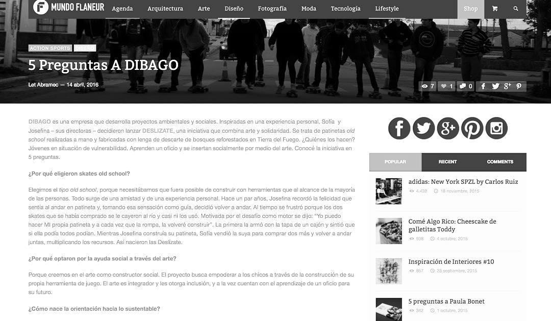 Gracias @mundoflaneur por la nota a DIBAGO. (Link a la nota completa en los comments) #yosoydibago #deslizate #skate #medios
