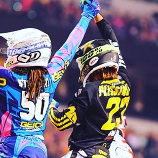 Congrats to #deegan38 rider @aaronplessinger_23 on his 1st Sx win. Cool to see the dance moves. Would of liked to see the Ghost ride though. Lol. Cool to see some personalities in the sport !!