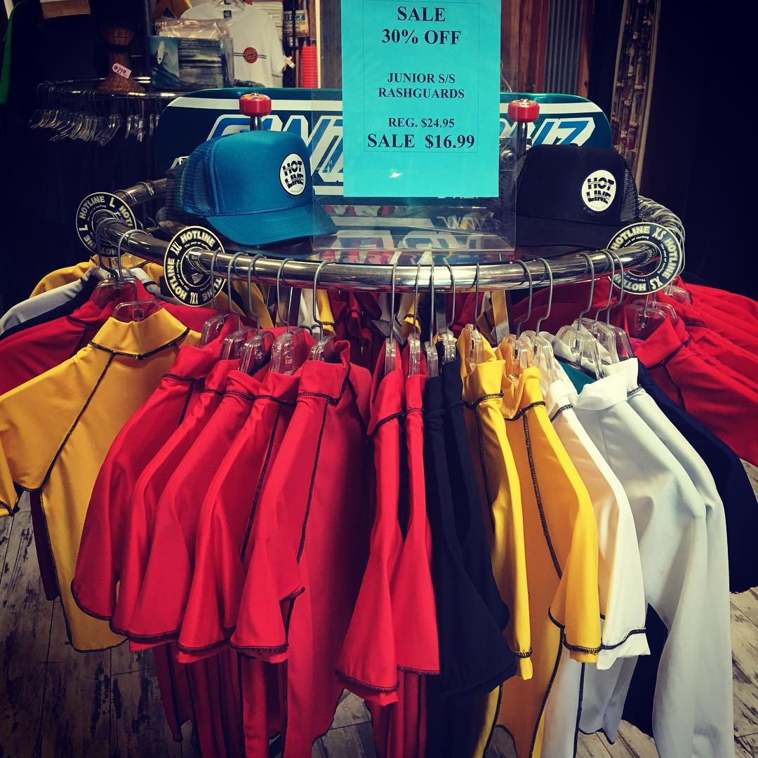 30% OFF SALE on Junior S/S Rashguards!!! Reg. $24.95 SALE $19.99!!! #Sale #30%OffSale #HotlineWetsuits #Junior #Rashguards #surf